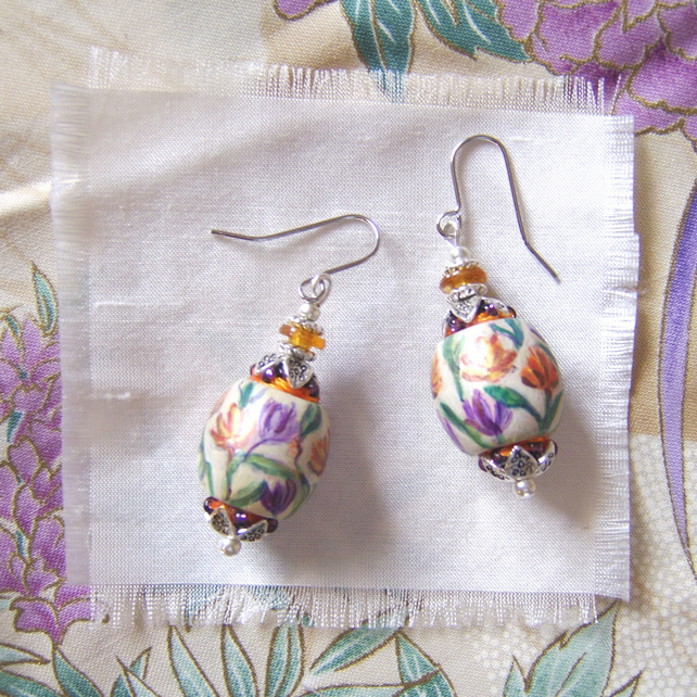 Lavender and marigold flower handpainted oval wood earrings