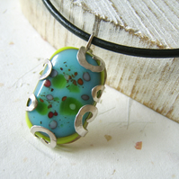 'Floating petals' Turquoise and lime glass pendant mounted  in sterling silver
