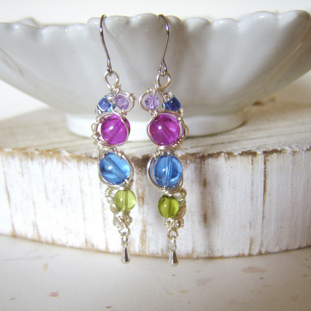 'Sweet Pea' garden inspired wire wrapped earrings with glass beads