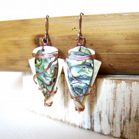 'Comanche' Wire wrapped abalone and mother of pearl arrowhead earrings