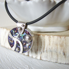 'Blackcurrant' Sterling silver, pearl, shell and mixed media resin pendant