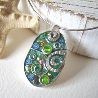 Ocean Fantasy – Sterling silver and mixed media necklace