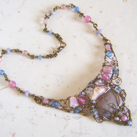'Dawn Mist' Wire wrapped glass and gemstone necklace in pastel pink and blue