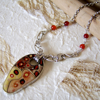 'Safari' Red, black and cream polymer clay and sterling silver necklace