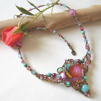'Le Jardin' Rose pink and turquoise garden inspired necklace