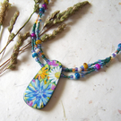 'Wildflowers' Handpainted wood and bead necklace inspired by a Norfolk meadow