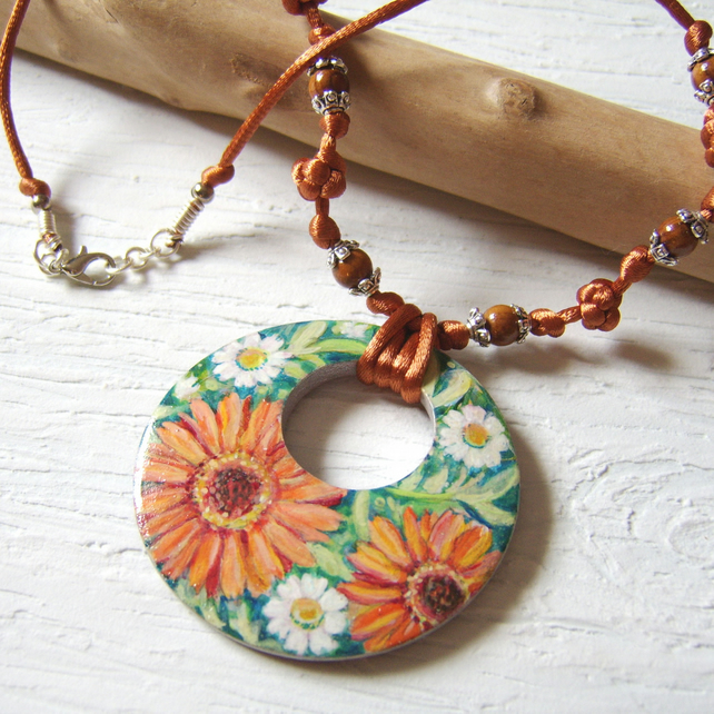 'Marigold' Handpainted garden flower pendant on orange satin cord
