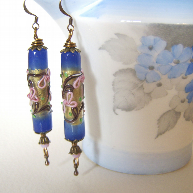 'Blue Lustre' Statement earrings with upcycled vintage bohemian beads