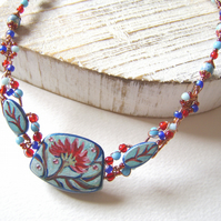 'Anneka' Handpainted folk art flower necklace with wirework and beads