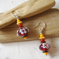 'Autumn Blossom' Lampwork glass and red agate earrings with white flowers