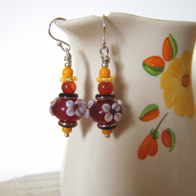 'Autumn Blossom' Glass and agate flower earrings in yellow and orange
