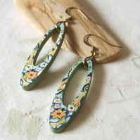'Oriental Garden' Dangly retro inspired wood earrings with handpainted flowers