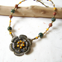 'Mellow Yellow' Upcycled vintage metal flower with dichroic glass and jasper
