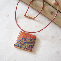 'Oriental Poppy' Handpainted fabric pendant with embossed copper frame