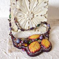 'Bramble Beauty' painted and embroidered necklace inspired by a Norfolk hedgerow