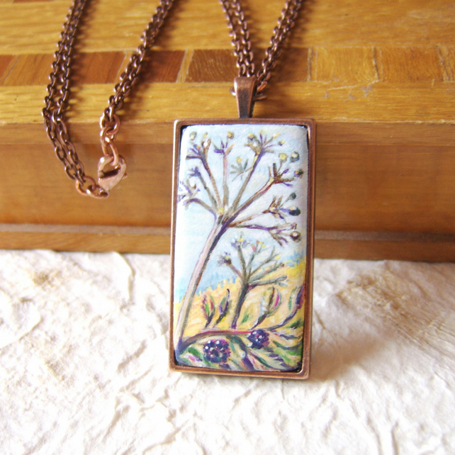 Seed heads and blackberries nature inspired handpainted pendant