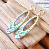 Herb garden inspired wood earrrings with painted sage leaves