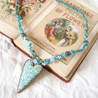 Forget me not -  handpainted heart necklace with ribbons and beadwork
