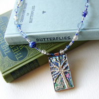 Creativity Amulet – Sparkly blue mixed media necklace with words of inspiration