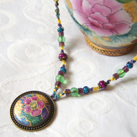 Oriental flower necklace painted on silk with macramé and glass beads
