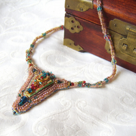 'Aurelia' Beaded and embroidered necklace with handpainted silk and metal thread