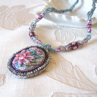 'Camille' Blue and pink flower pendant on beaded handpainted silk