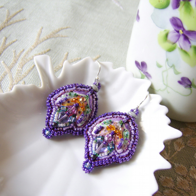 'Viola' Vintage inspired bead embroidered silk earrings