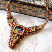 'Guinevere' Embroidered multi-coloured bead necklace with glass cabochons