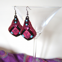 Art Deco inspired raspberry pink and black earrings with turquoise beads