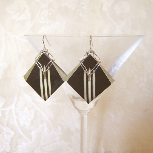 Upcycled square art deco button earrings with sterling silver wrap