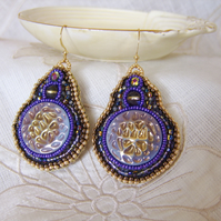 Lavender and gold lustred vintage glass button earrings with embroidered beads