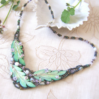 'Wildwood' necklace with handpainted leaves and beadwork