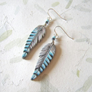 Blue jay feather earrings handpainted on wood with sterling silver hooks