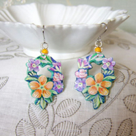 Garden flower earrings hand cut and painted on wood