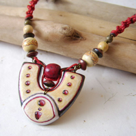 'Epona's Amulet' Carved and painted wood and macramé necklace