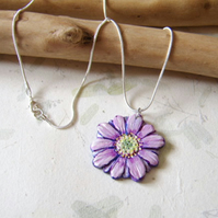 Daisy pendant, hand carved and painted on cherrywood