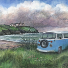 Camper Van at Poldhu - ORIGINAL PAINTING