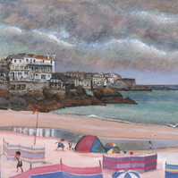 Porthminster Beach toward St Ives Harbour - ORIGINAL PAINTING