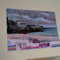 PRINT - Porthminster Beach toward St Ives Harbour