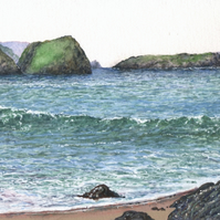 Polurrian Cove toward Mullion Cove - ORIGINAL PAINTING