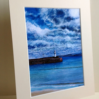 PRINT - Smeaton Pier and Light, St Ives