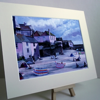 PRINT - St Ives Harbour by Quay Street
