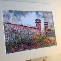 PRINT - Flower Border, Moseley Old Hall