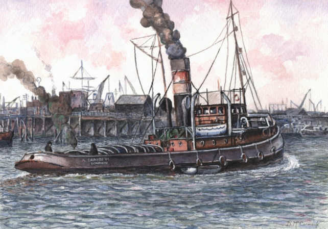 Danube VI, Tugboat  - ORIGINAL PAINTING