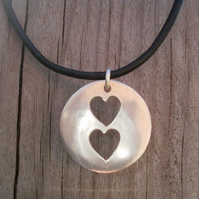 Two Hearts In One Fine Silver Pendant