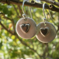 Fine silver round earrings with oxidised heart decoration