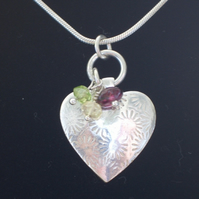 Silver Patterned Heart Pendant with Citrine, Peridot & Garnet