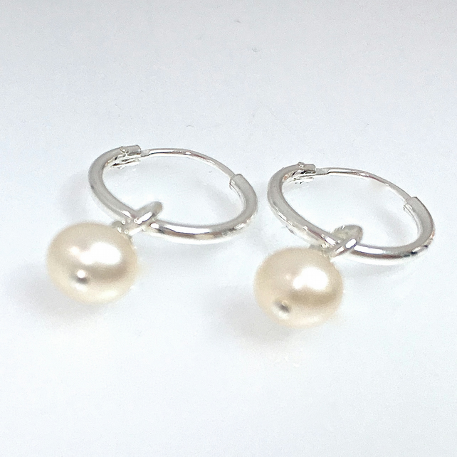 Tiny hoop and water pearl earrings