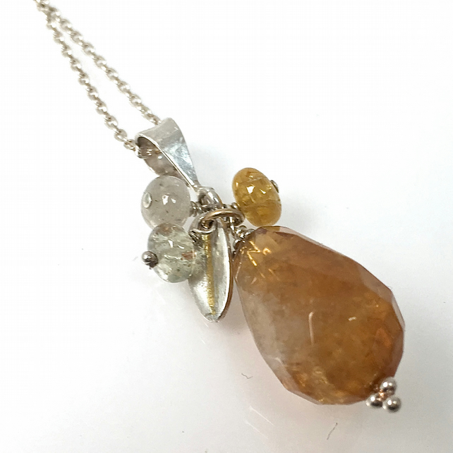 Citrine and silver pendant