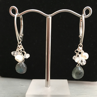 Labradorite & Silver Lever Arch Earrings